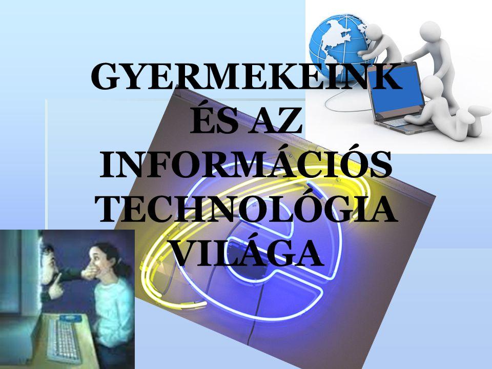 Az INFORMÁCIÓS TECHNOLÓGIA (IT) fogalma  Az információs technológia olyan gyűjtőfogalom, amely magába foglalja mindazokat az elektronikus berendezéseket és szolgáltatásokat, amelyek az adatok tárolására és továbbítására szolgálnak, mint például a számítógépek, számítógépes hálózatok, internet, e-mail, chat, adatbázisok, mobilhálózatok és telefonok, elektronikus ügyintézés, bankkártyák, digitális pénz, bankszámlák, stb.