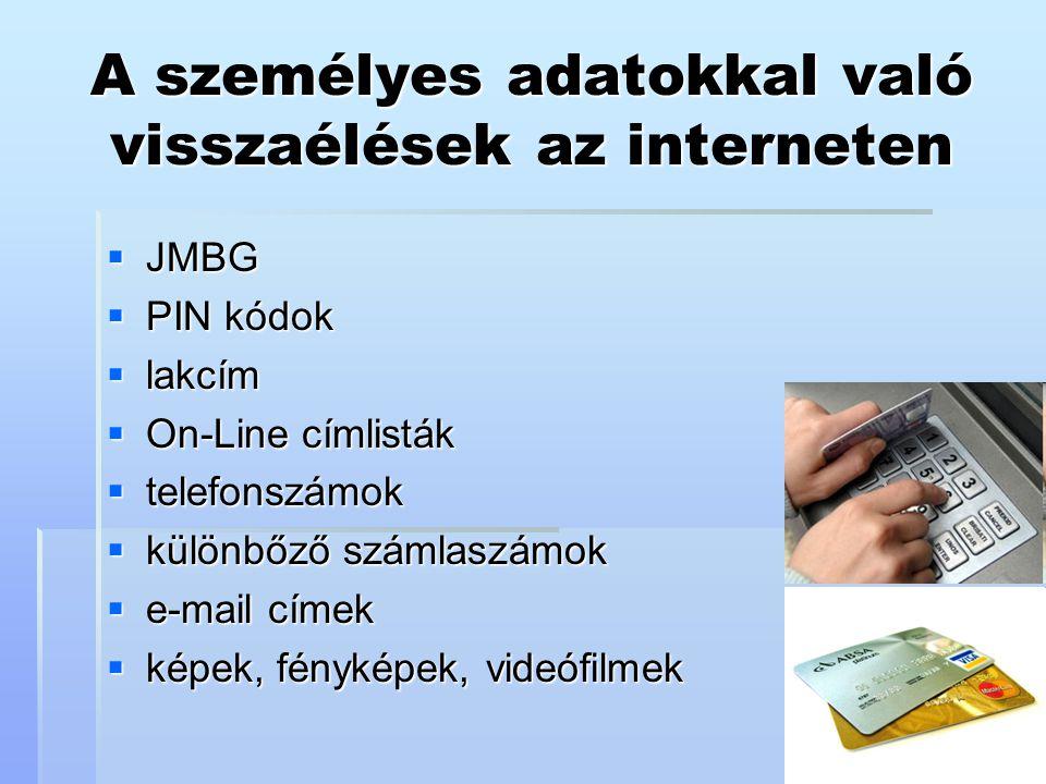 A személyes adatokkal való visszaélések az interneten  JMBG  PIN kódok  lakcím  On-Line címlisták  telefonszámok  különbőző számlaszámok  e-mai