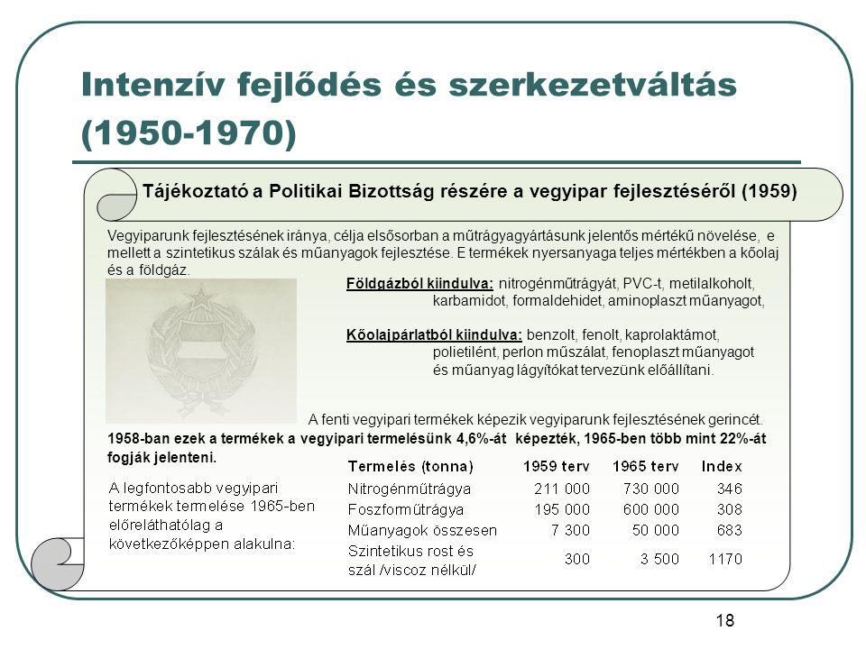 18 Intenzív fejlődés és szerkezetváltás (1950-1970) Tájékoztató a Politikai Bizottság részére a vegyipar fejlesztéséről (1959) Vegyiparunk fejlesztésé