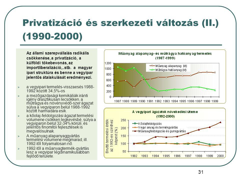31 Privatizáció és szerkezeti változás (II.) (1990-2000) Az állami szerepvállalás radikális csökkenése, a privatizáció, a külföldi tőkebevonás, az imp