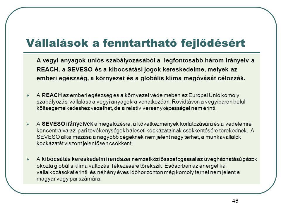 46 A vegyi anyagok uniós szabályozásából a legfontosabb három irányelv a REACH, a SEVESO és a kibocsátási jogok kereskedelme, melyek az emberi egészsé