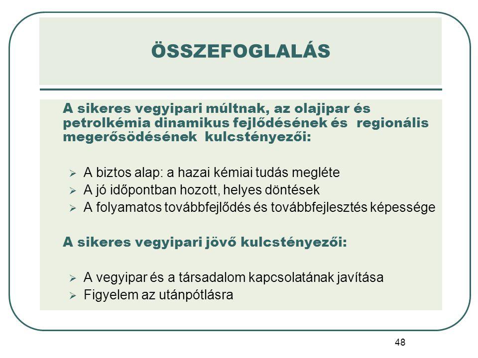 48 ÖSSZEFOGLALÁS A sikeres vegyipari múltnak, az olajipar és petrolkémia dinamikus fejlődésének és regionális megerősödésének kulcstényezői:  A bizto