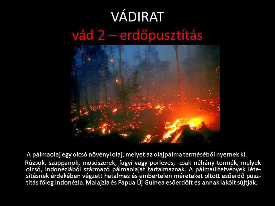 VÁDIRAT vád 2 – erdőpusztítás • A Föld erdeinek egyharmadát az esőerdők teszik ki. Egyelőre. Ugyanis az erdőirtás napjainkban meghaladja az évi 200 00