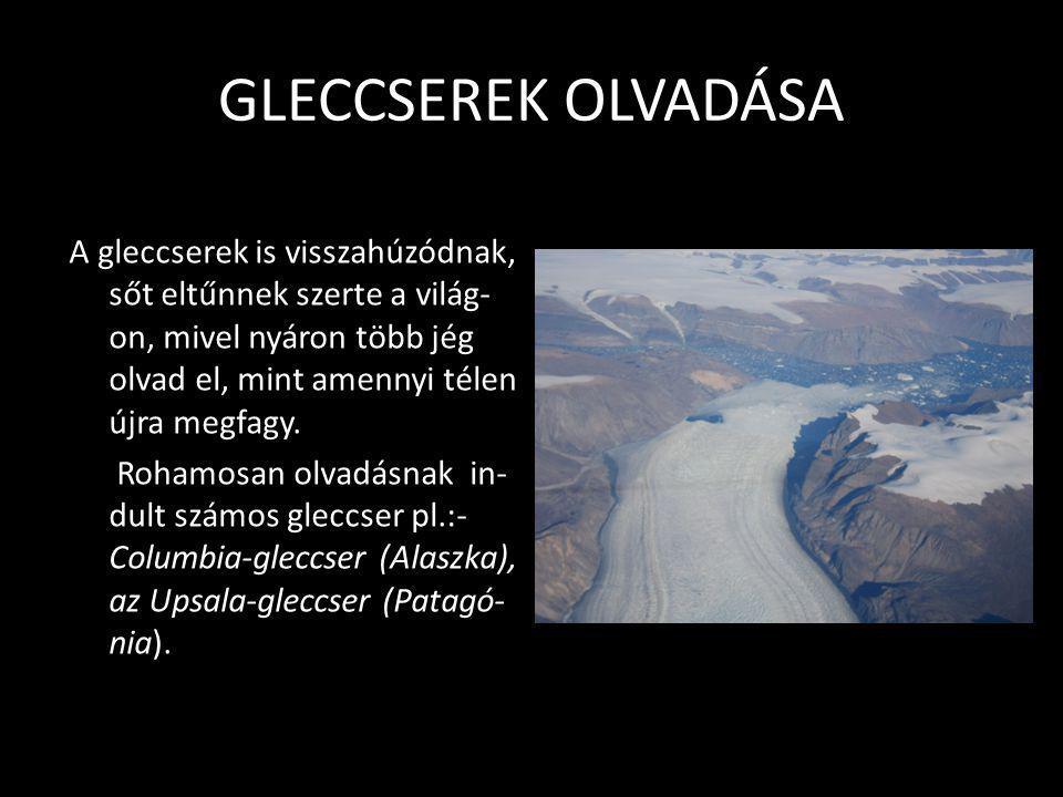 TENGERSZINT EMELKEDÉS • A jégtakaró olvadásának következtében emelkedik a tengerek vízszintje. Ennek egyrészt az az oka, hogy a melegebb tengervíznek