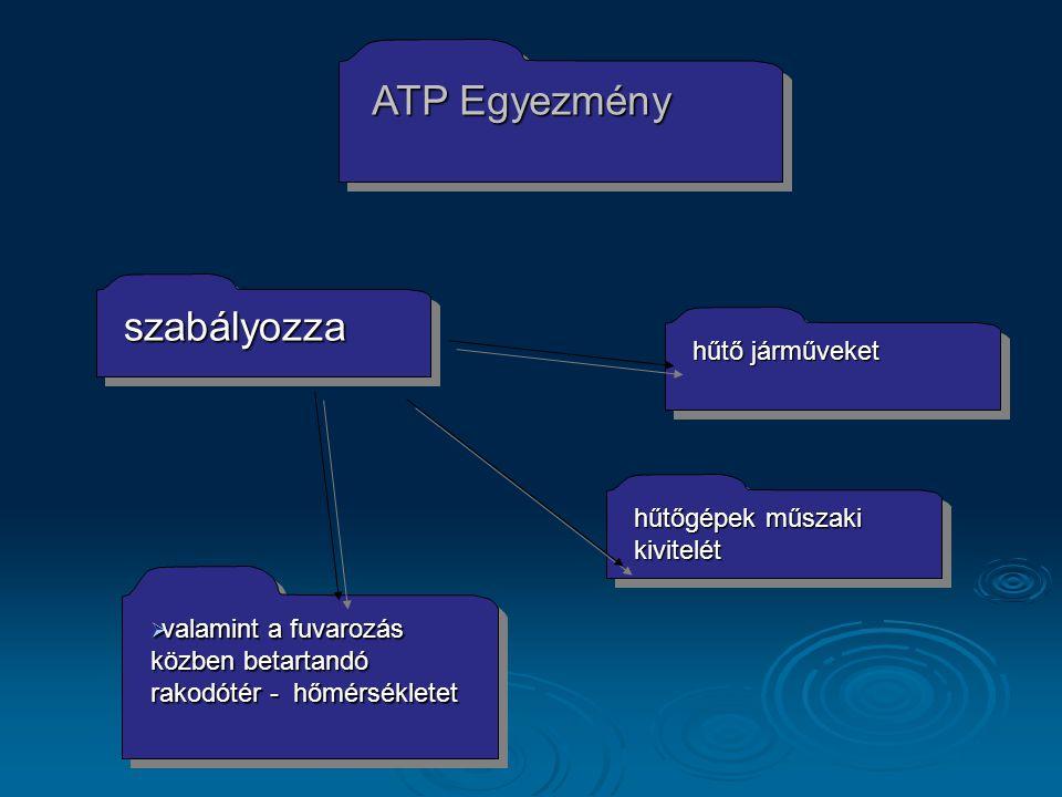 ATP Egyezmény hűtőgépek műszaki kivitelét  valamint a fuvarozás közben betartandó rakodótér - hőmérsékletet szabályozzaszabályozza hűtő járműveket