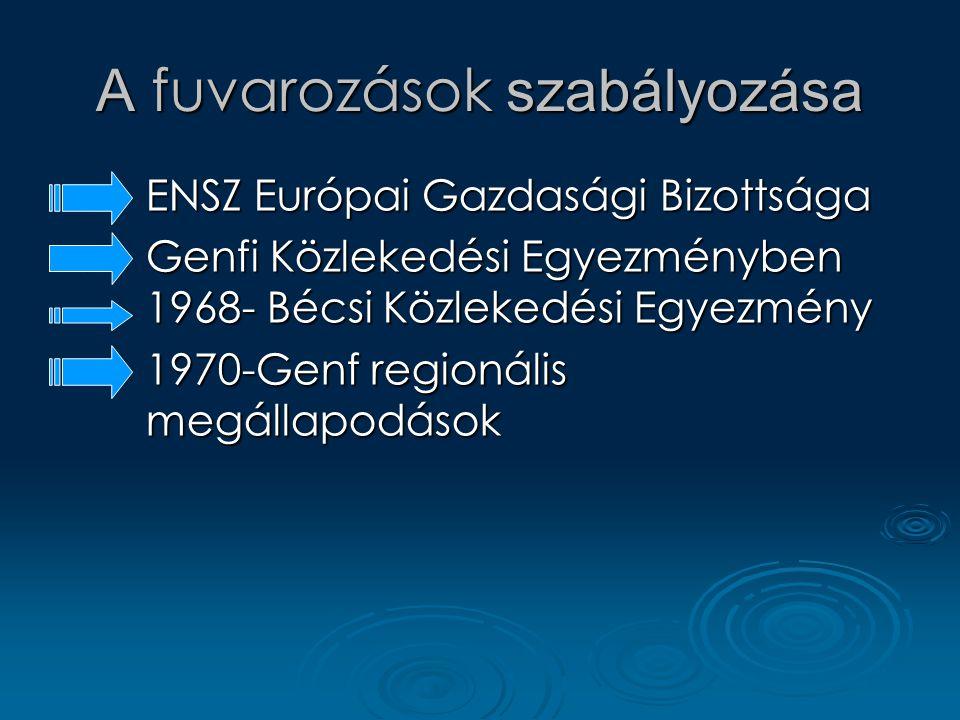 A fuvarozások szabályozása EEEENSZ Európai Gazdasági Bizottsága GGGGenfi Közlekedési Egyezményben 1968- Bécsi Közlekedési Egyezmény 1111970-Genf regionális megállapodások
