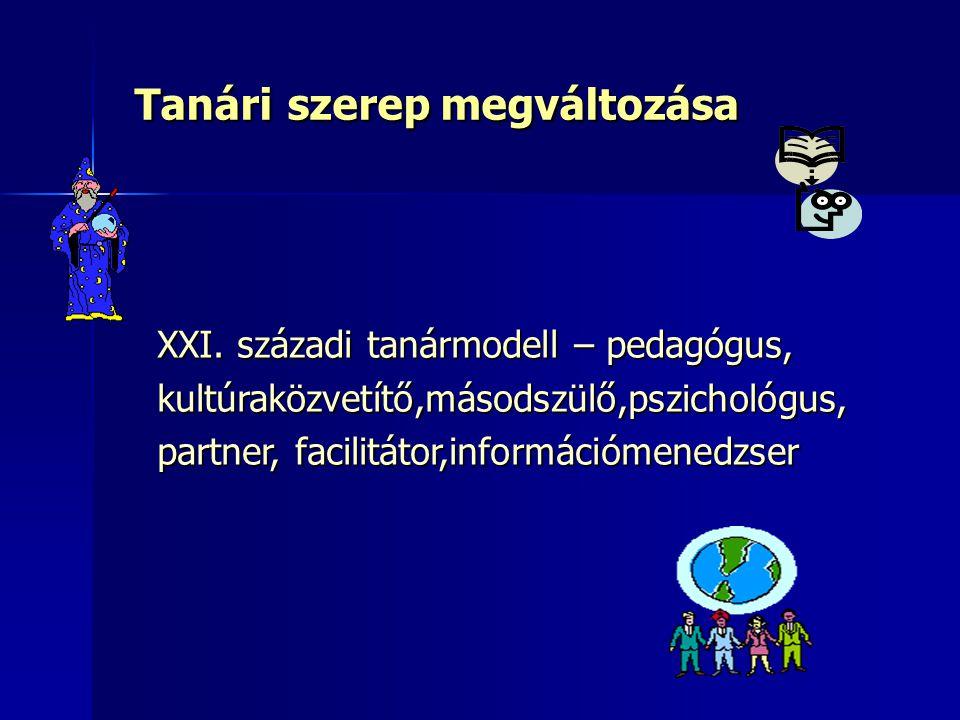 Tanári szerep megváltozása XXI. századi tanármodell – pedagógus, kultúraközvetítő,másodszülő,pszichológus, partner, facilitátor,információmenedzser