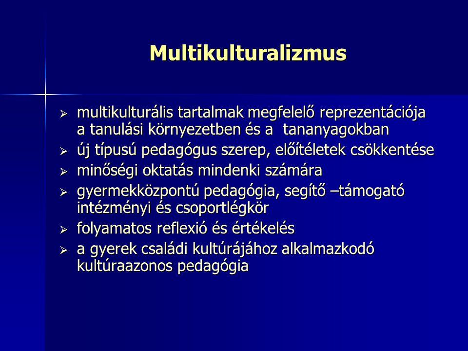 Multikulturalizmus  multikulturális tartalmak megfelelő reprezentációja a tanulási környezetben és a tananyagokban  új típusú pedagógus szerep, előí