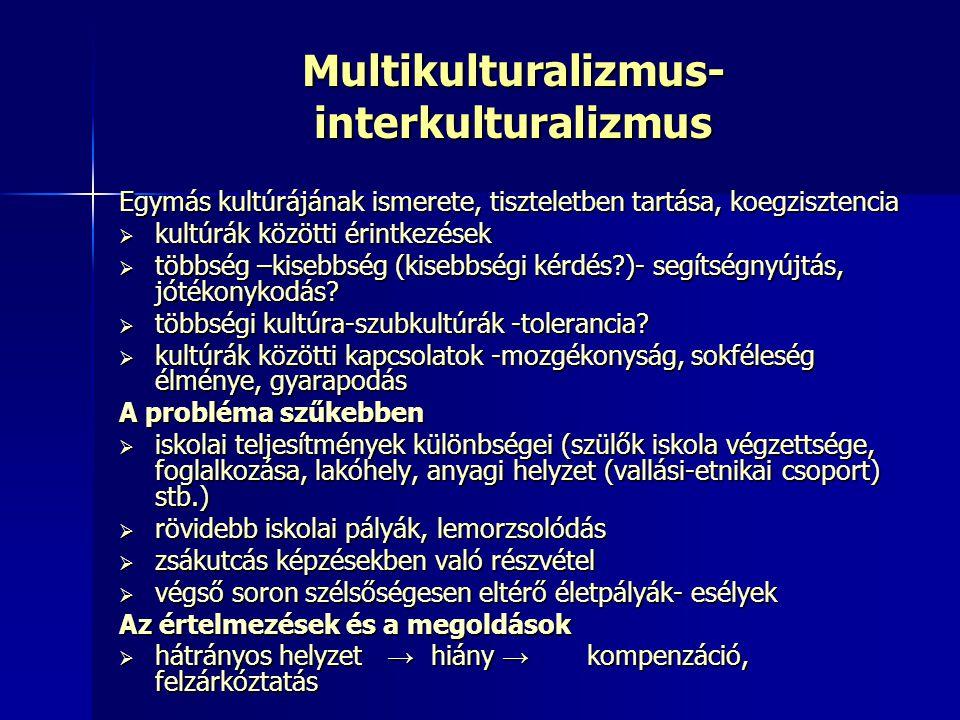 Multikulturalizmus- interkulturalizmus Egymás kultúrájának ismerete, tiszteletben tartása, koegzisztencia  kultúrák közötti érintkezések  többség –k