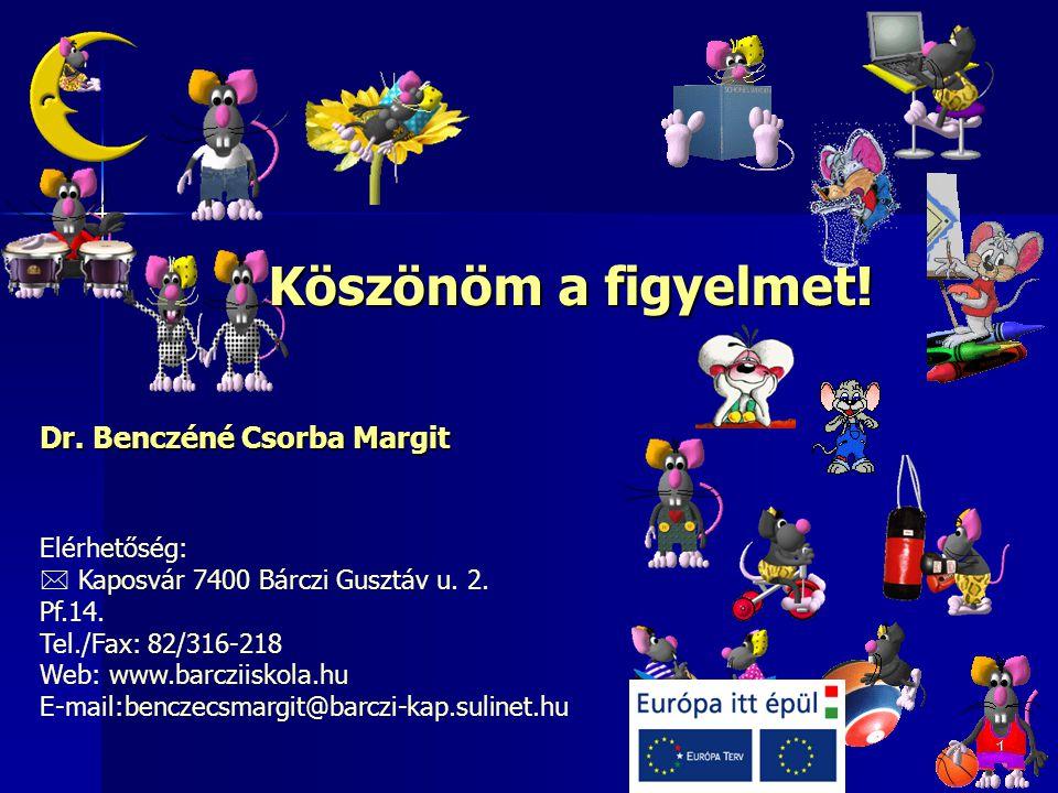 Köszönöm a figyelmet! Dr. Benczéné Csorba Margit Elérhetőség:  Kaposvár 7400 Bárczi Gusztáv u. 2. Pf.14. Tel./Fax: 82/316-218 Web: www.barcziiskola.h