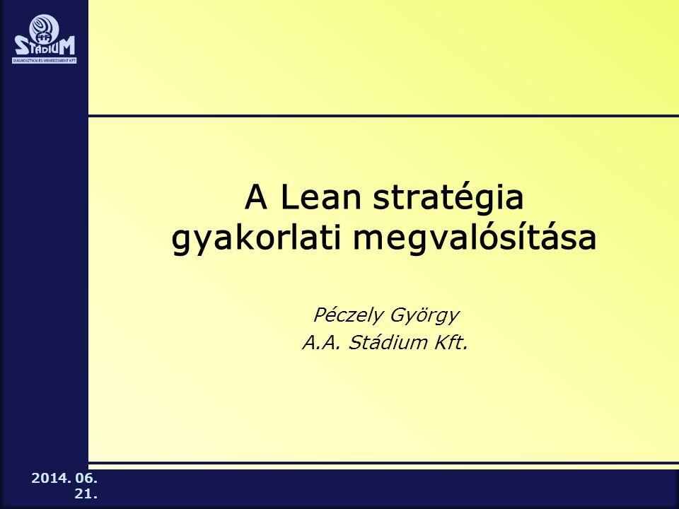 2014. 06. 21. A Lean stratégia gyakorlati megvalósítása Péczely György A.A. Stádium Kft.