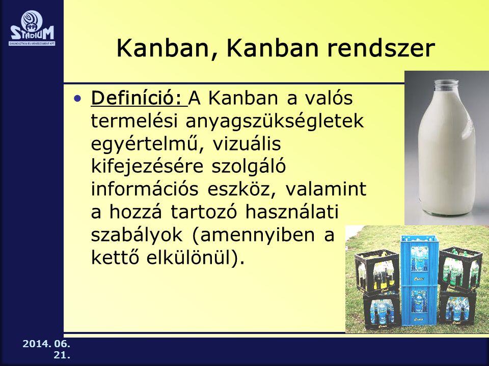 2014. 06. 21. Kanban, Kanban rendszer •Definíció: A Kanban a valós termelési anyagszükségletek egyértelmű, vizuális kifejezésére szolgáló információs