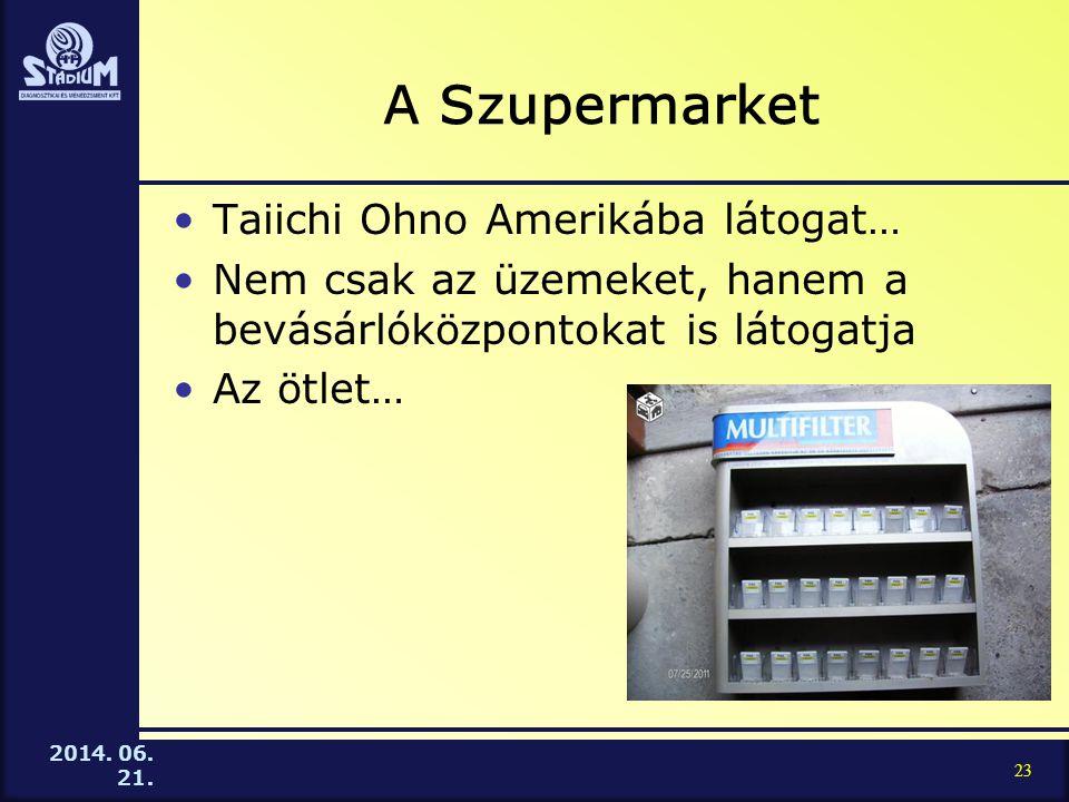 2014. 06. 21. A Szupermarket •Taiichi Ohno Amerikába látogat… •Nem csak az üzemeket, hanem a bevásárlóközpontokat is látogatja •Az ötlet… 23