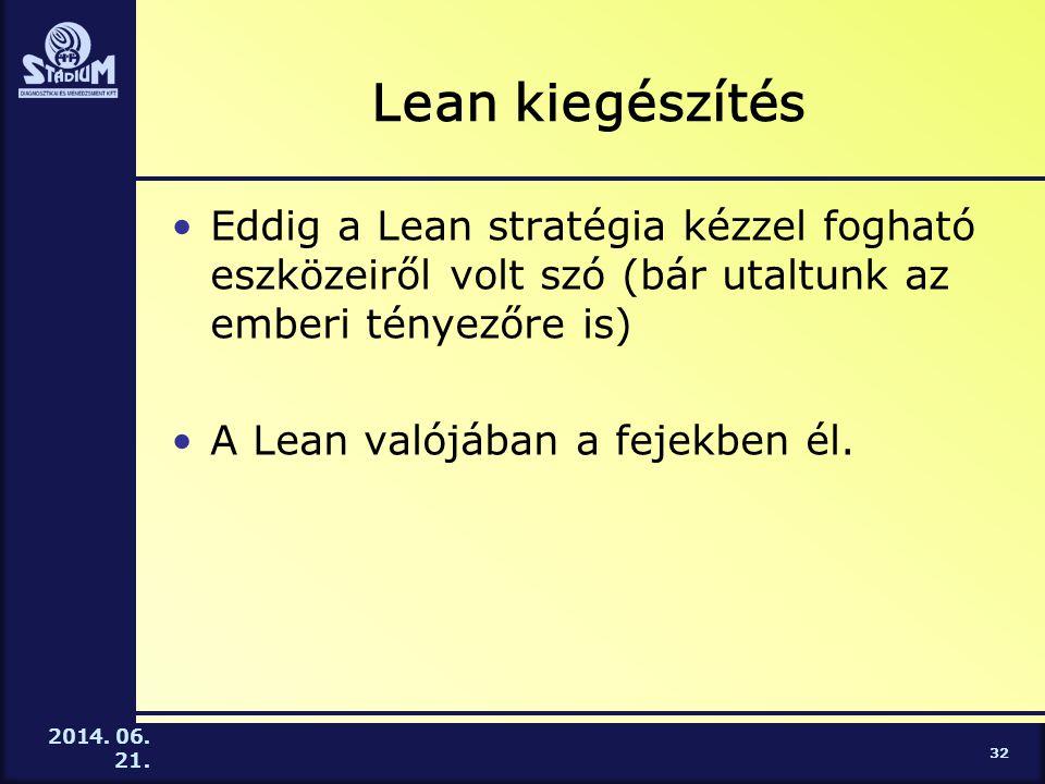 2014. 06. 21. Lean kiegészítés •Eddig a Lean stratégia kézzel fogható eszközeiről volt szó (bár utaltunk az emberi tényezőre is) •A Lean valójában a f