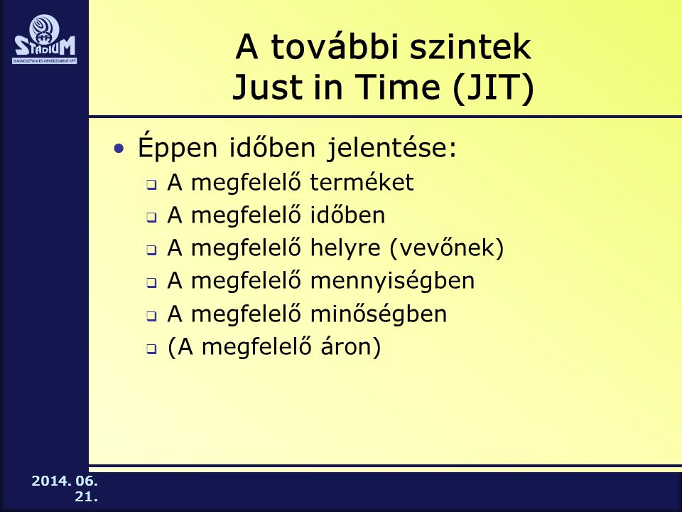 2014. 06. 21. A további szintek Just in Time (JIT) •Éppen időben jelentése:  A megfelelő terméket  A megfelelő időben  A megfelelő helyre (vevőnek)