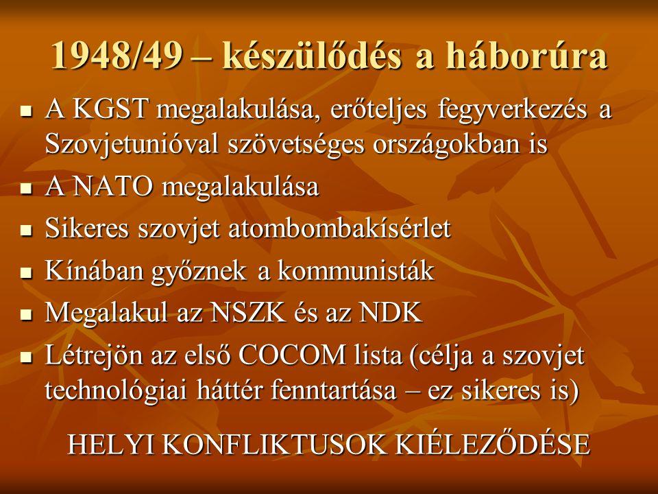 1948/49 – készülődés a háborúra  A KGST megalakulása, erőteljes fegyverkezés a Szovjetunióval szövetséges országokban is  A NATO megalakulása  Sike