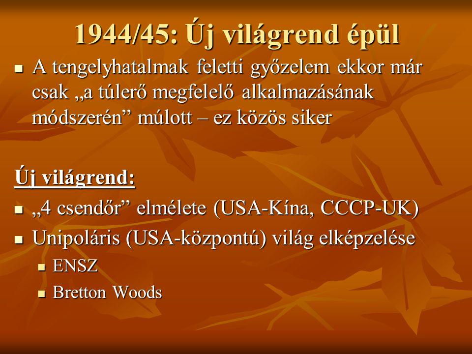 """1944/45: Új világrend épül  A tengelyhatalmak feletti győzelem ekkor már csak """"a túlerő megfelelő alkalmazásának módszerén"""" múlott – ez közös siker Ú"""