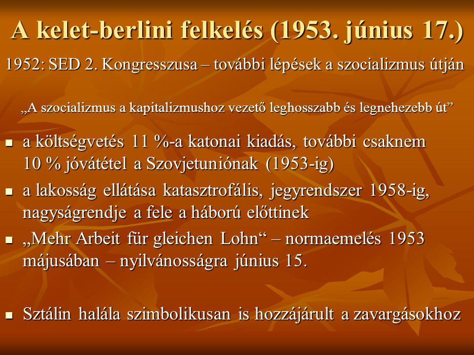 """A kelet-berlini felkelés (1953. június 17.) 1952: SED 2. Kongresszusa – további lépések a szocializmus útján """"A szocializmus a kapitalizmushoz vezető"""