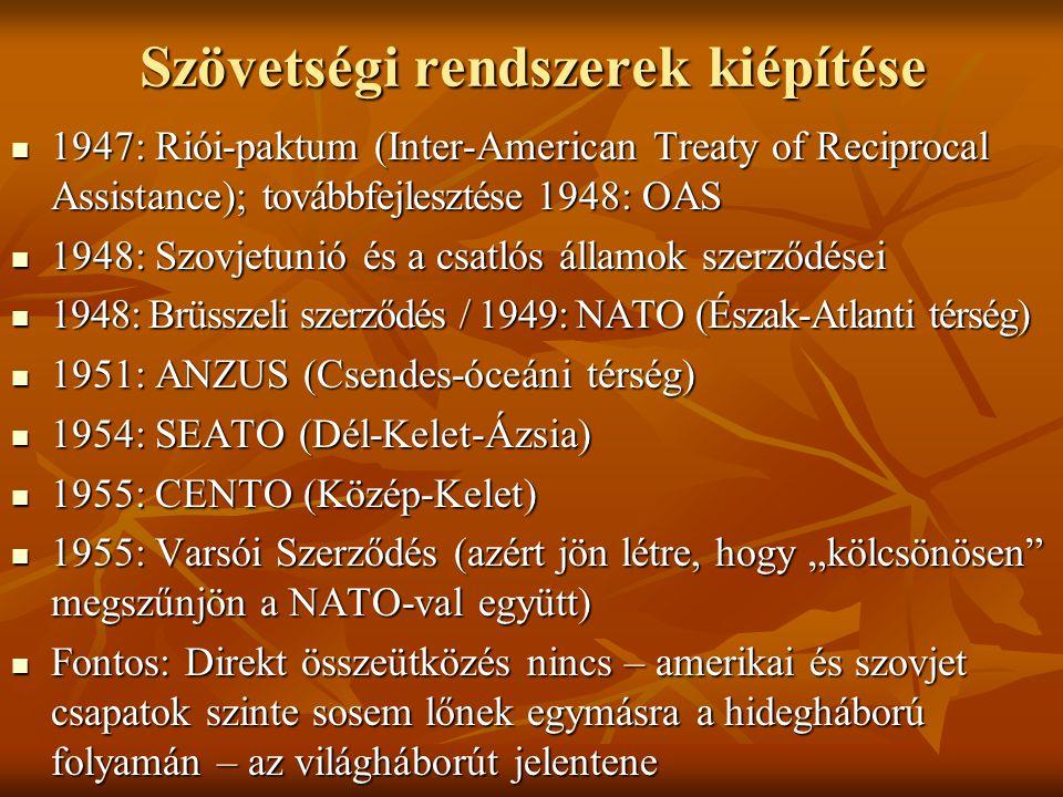Szövetségi rendszerek kiépítése  1947: Riói-paktum (Inter-American Treaty of Reciprocal Assistance); továbbfejlesztése 1948: OAS  1948: Szovjetunió