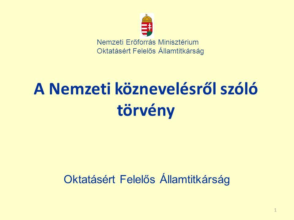 1 A Nemzeti köznevelésről szóló törvény Oktatásért Felelős Államtitkárság Nemzeti Erőforrás Minisztérium Oktatásért Felelős Államtitkárság