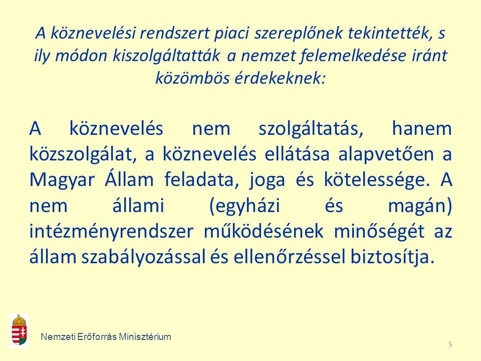 5 A köznevelési rendszert piaci szereplőnek tekintették, s ily módon kiszolgáltatták a nemzet felemelkedése iránt közömbös érdekeknek: A köznevelés nem szolgáltatás, hanem közszolgálat, a köznevelés ellátása alapvetően a Magyar Állam feladata, joga és kötelessége.