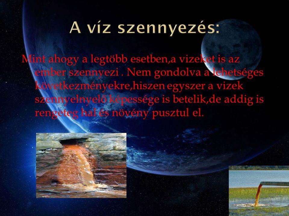 Mint ahogy a legtöbb esetben,a vizeket is az ember szennyezi. Nem gondolva a lehetséges következményekre,hiszen egyszer a vizek szennyelnyelő képesség
