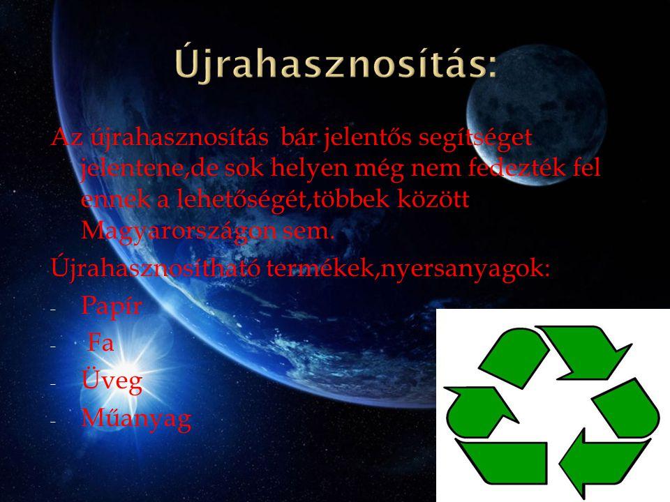 Az újrahasznosítás bár jelentős segítséget jelentene,de sok helyen még nem fedezték fel ennek a lehetőségét,többek között Magyarországon sem. Újrahasz