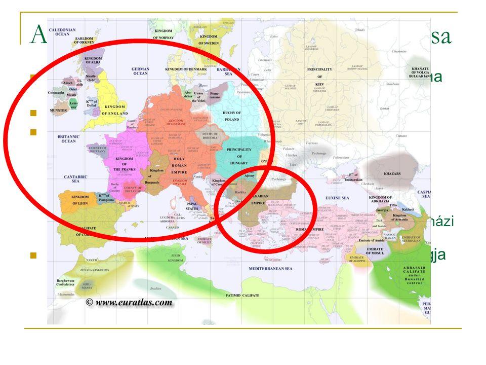 A nyugati- és a keleti egyház szétválása  Ezredforduló: európai keresztény népközösség - Róma elsőbbségre vágyik  1054 szkizma = egyházszakadás  ok