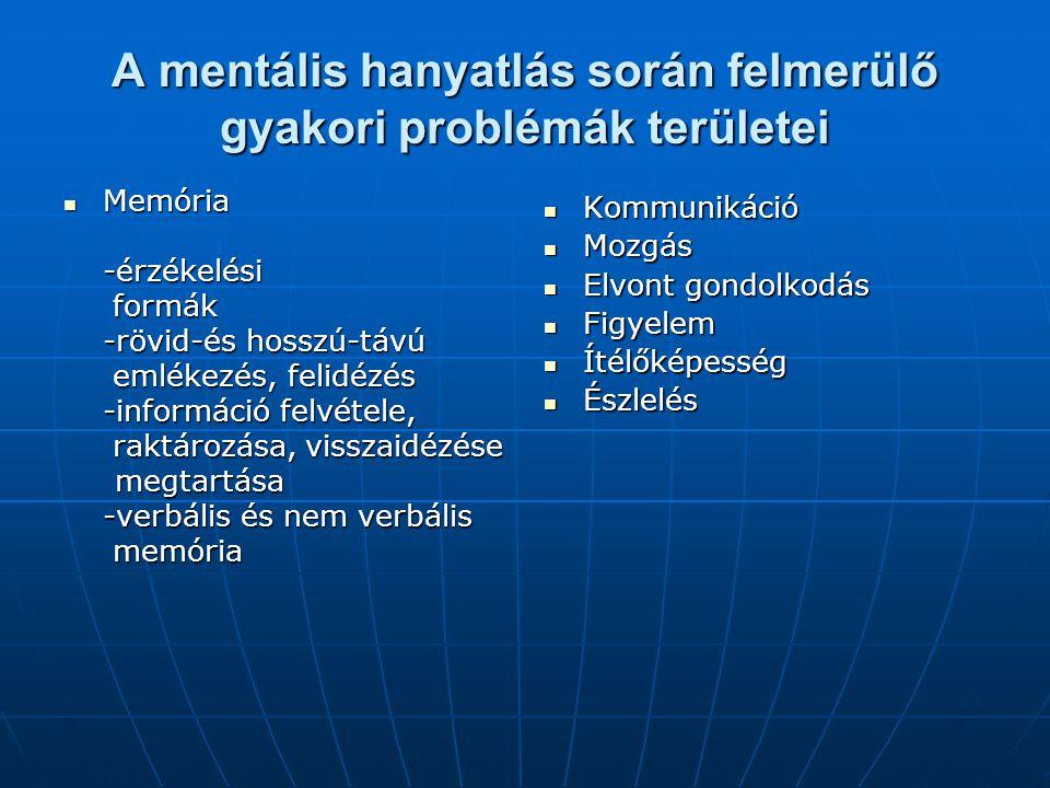 A mentális állapot felmérése, MMMS teszt felvétele Szociális készségszint felmérés: önellátás, tájékozódás,közösségiviselkedés, viselkedés adekvációja, vizsgálat értékelése MMS teszt MMMS teszt Óra teszt  A teszt felvételét megelőző lépések  Személyi, környezeti és tárgyi feltételek biztosítása  A teszt felvétele nagyobb érzékszervi, mozgásszervi működéscsökkenés esetén  A teszt felvételének folyamata  Értékelő lap: orientáció, memória, subcorticalis, corticalis területek