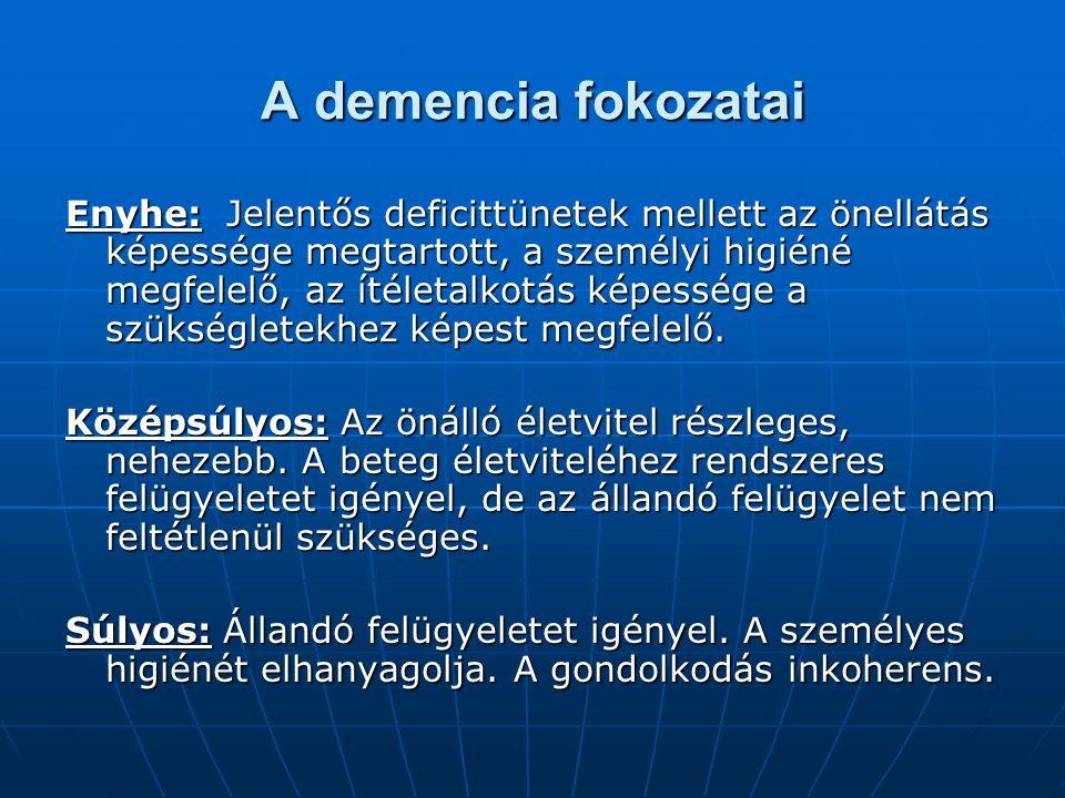 A demencia fokozatai Enyhe: Jelentős deficittünetek mellett az önellátás képessége megtartott, a személyi higiéné megfelelő, az ítéletalkotás képesség