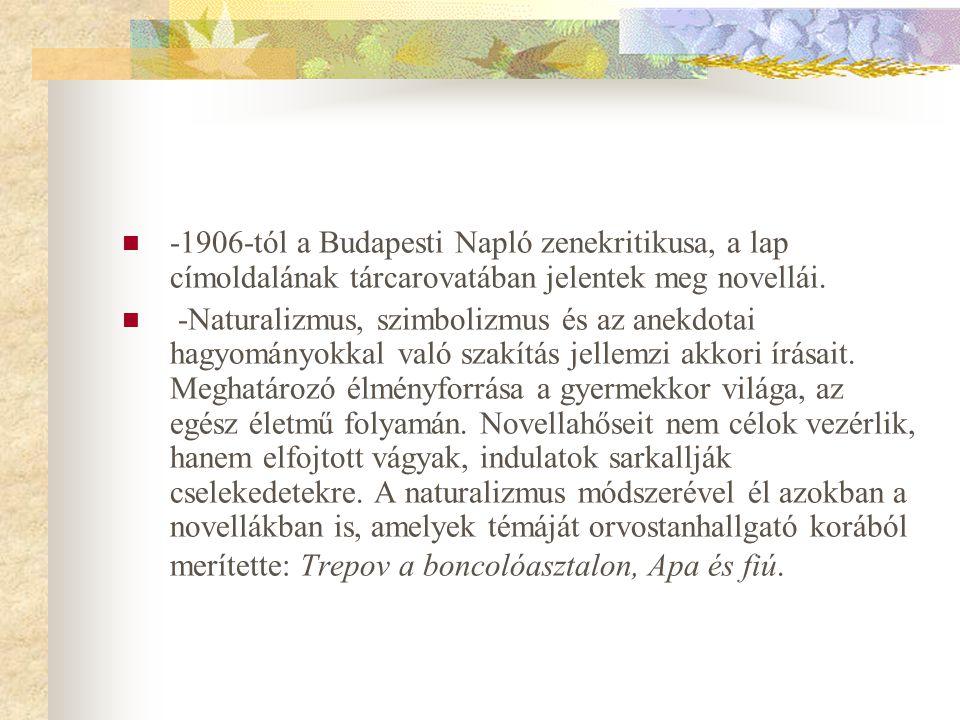  -1906-tól a Budapesti Napló zenekritikusa, a lap címoldalának tárcarovatában jelentek meg novellái.  -Naturalizmus, szimbolizmus és az anekdotai ha