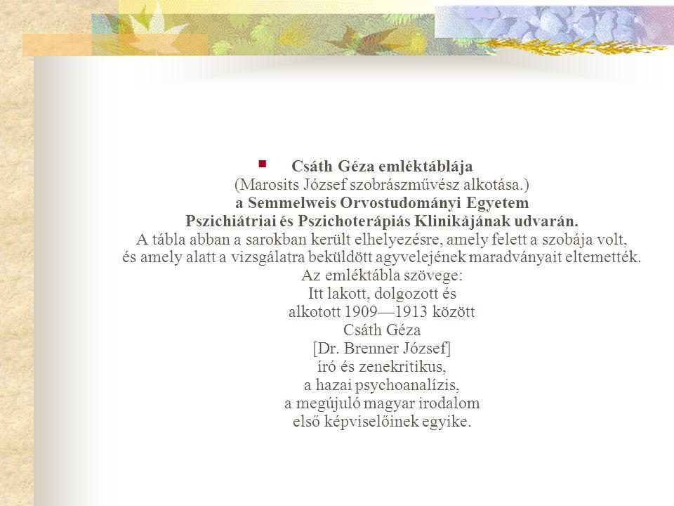  Csáth Géza emléktáblája (Marosits József szobrászművész alkotása.) a Semmelweis Orvostudományi Egyetem Pszichiátriai és Pszichoterápiás Klinikájának