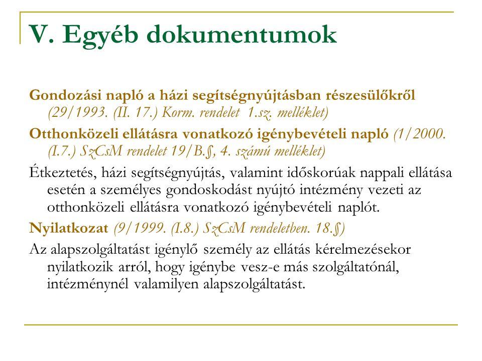 V. Egyéb dokumentumok Gondozási napló a házi segítségnyújtásban részesülőkről (29/1993. (II. 17.) Korm. rendelet 1.sz. melléklet) Otthonközeli ellátás