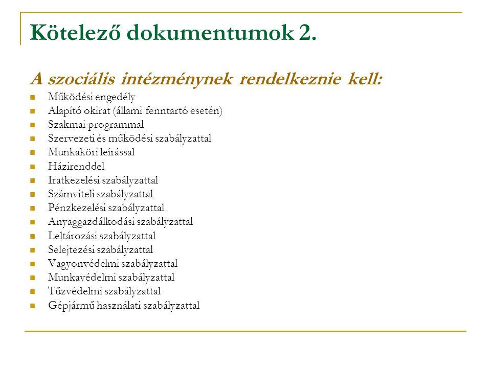 Kötelező dokumentumok 2. A szociális intézménynek rendelkeznie kell:  Működési engedély  Alapító okirat (állami fenntartó esetén)  Szakmai programm
