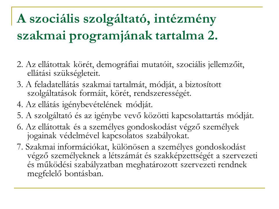 A szociális szolgáltató, intézmény szakmai programjának tartalma 2. 2. Az ellátottak körét, demográfiai mutatóit, szociális jellemzőit, ellátási szüks