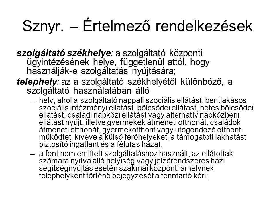 Sznyr. – Értelmező rendelkezések szolgáltató székhelye: a szolgáltató központi ügyintézésének helye, függetlenül attól, hogy használják-e szolgáltatás