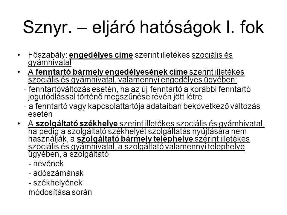 Sznyr. – eljáró hatóságok I. fok •Főszabály: engedélyes címe szerint illetékes szociális és gyámhivatal •A fenntartó bármely engedélyesének címe szeri