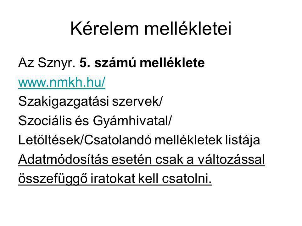 Kérelem mellékletei Az Sznyr. 5. számú melléklete www.nmkh.hu/ Szakigazgatási szervek/ Szociális és Gyámhivatal/ Letöltések/Csatolandó mellékletek lis