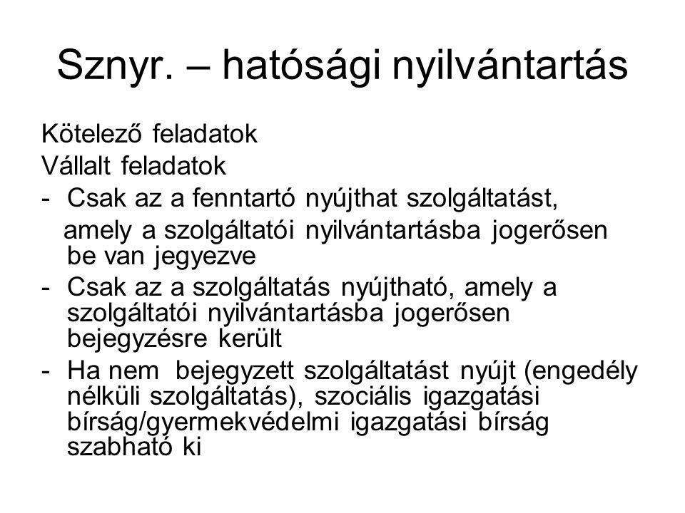 Sznyr.– eljáró hatóságok II.