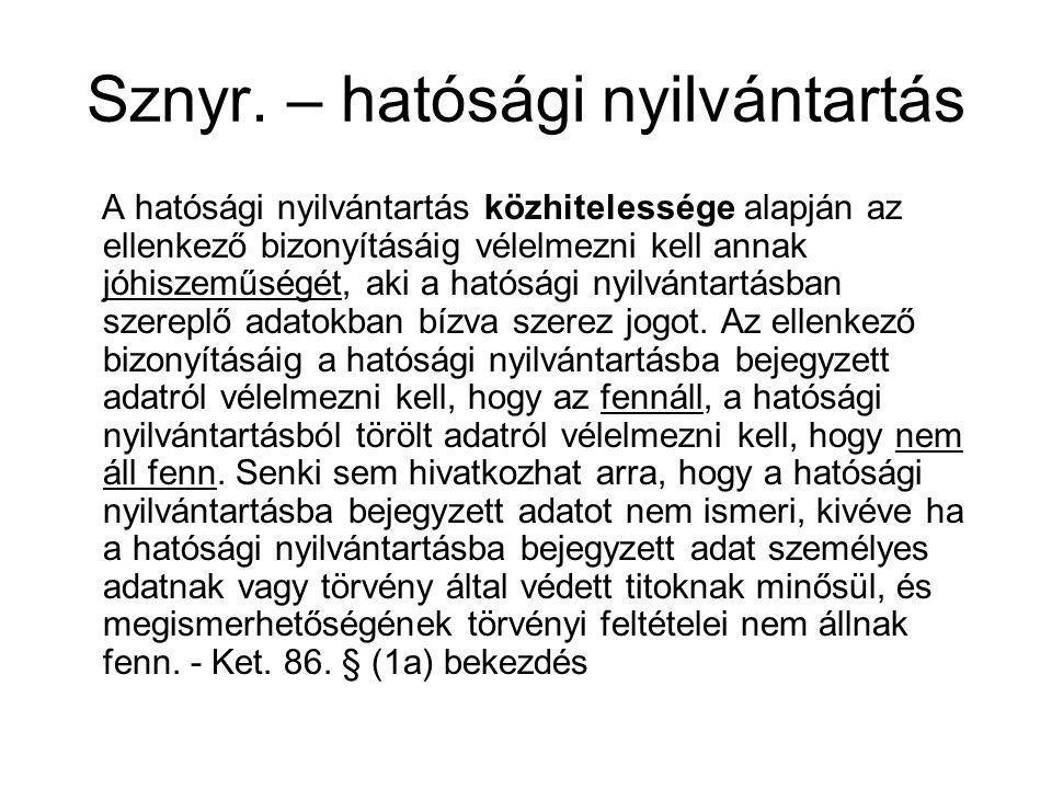 Sznyr.– bejegyzés időbeli hatálya Sznyr. 28.