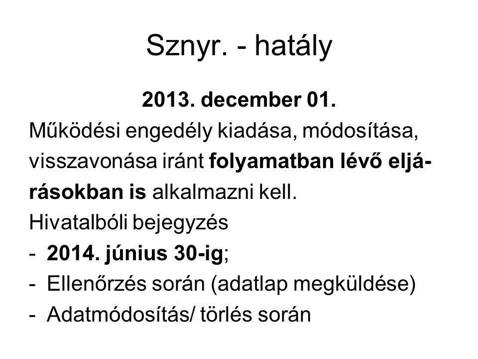 Sznyr. - hatály 2013. december 01. Működési engedély kiadása, módosítása, visszavonása iránt folyamatban lévő eljá- rásokban is alkalmazni kell. Hivat