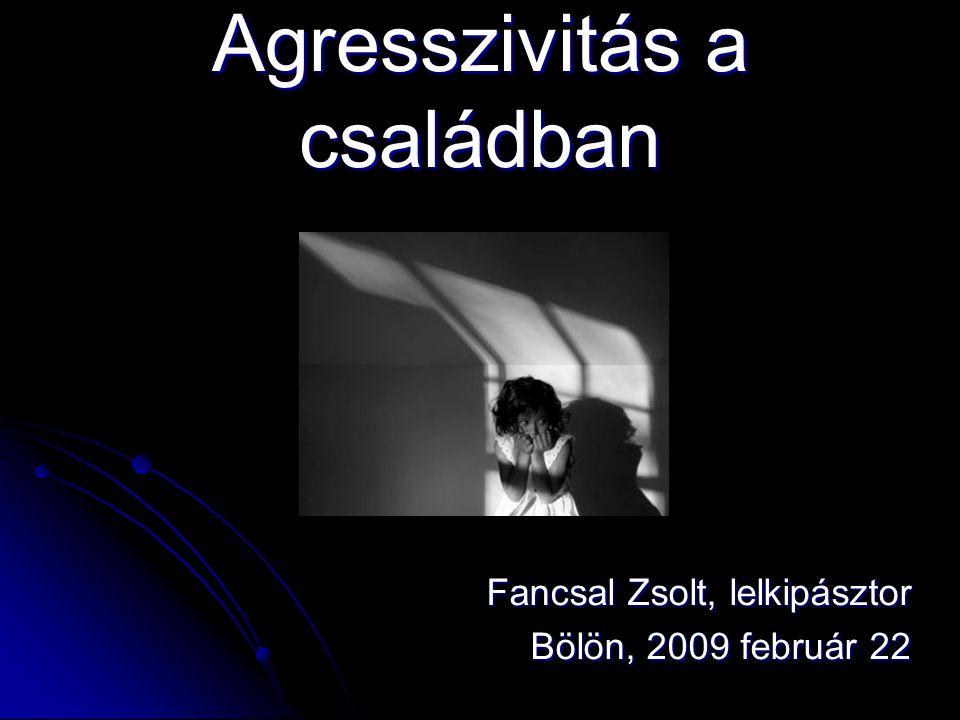 Agresszivitás a családban Fancsal Zsolt, lelkipásztor Bölön, 2009 február 22