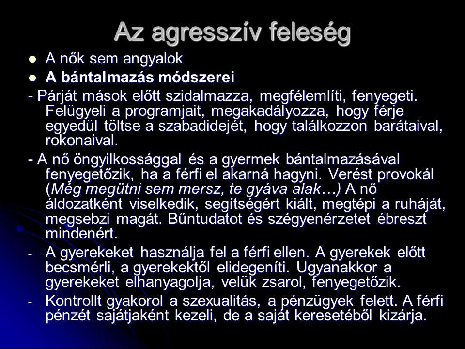 Az agresszív feleség  A nők sem angyalok  A bántalmazás módszerei - Párját mások előtt szidalmazza, megfélemlíti, fenyegeti.