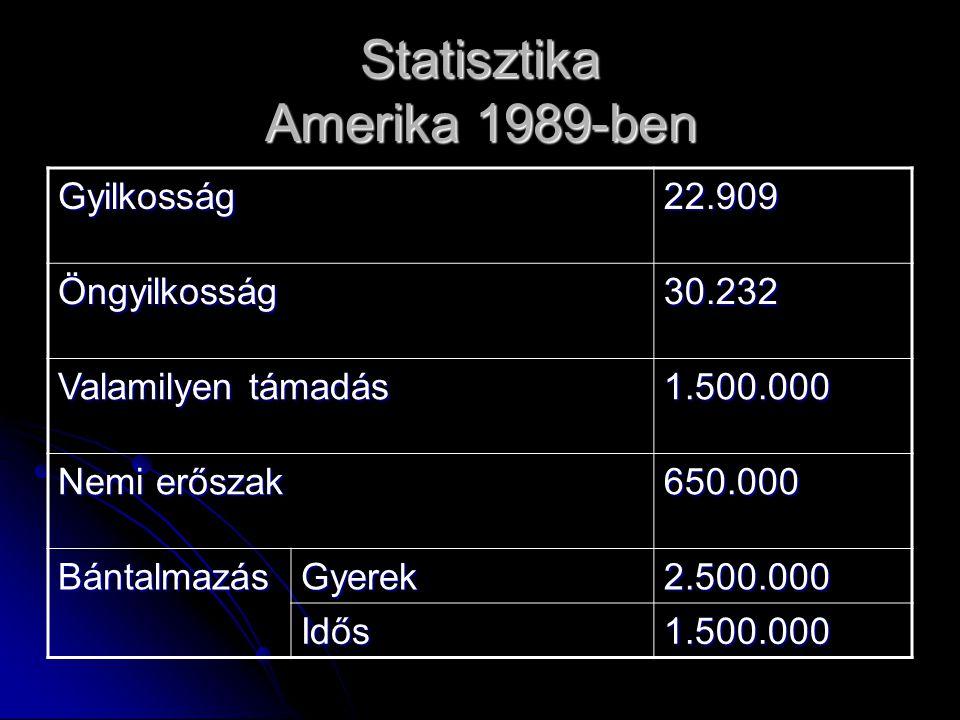 Statisztika Amerika 1989-ben Gyilkosság22.909 Öngyilkosság30.232 Valamilyen támadás 1.500.000 Nemi erőszak 650.000 BántalmazásGyerek2.500.000 Idős1.500.000