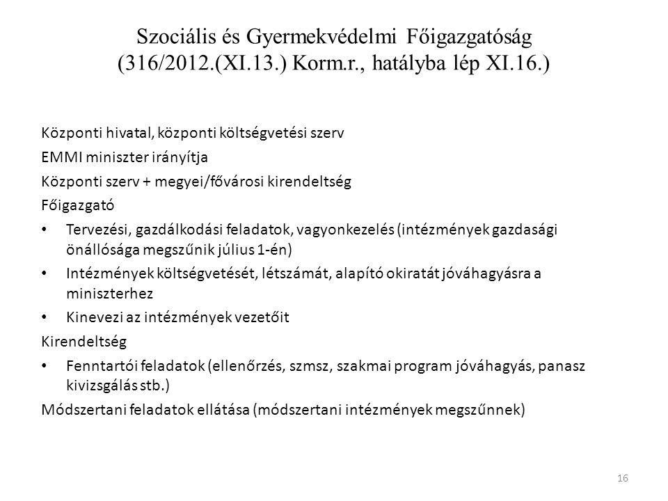 16 Szociális és Gyermekvédelmi Főigazgatóság (316/2012.(XI.13.) Korm.r., hatályba lép XI.16.) Központi hivatal, központi költségvetési szerv EMMI miniszter irányítja Központi szerv + megyei/fővárosi kirendeltség Főigazgató • Tervezési, gazdálkodási feladatok, vagyonkezelés (intézmények gazdasági önállósága megszűnik július 1-én) • Intézmények költségvetését, létszámát, alapító okiratát jóváhagyásra a miniszterhez • Kinevezi az intézmények vezetőit Kirendeltség • Fenntartói feladatok (ellenőrzés, szmsz, szakmai program jóváhagyás, panasz kivizsgálás stb.) Módszertani feladatok ellátása (módszertani intézmények megszűnnek)