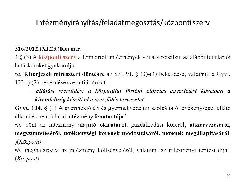 20 Intézményirányítás/feladatmegosztás/központi szerv 316/2012.(XI.23.)Korm.r.