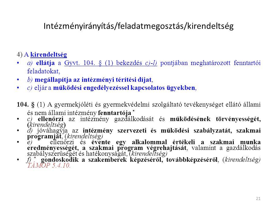 21 Intézményirányítás/feladatmegosztás/kirendeltség 4) A kirendeltség • a) ellátja a Gyvt.