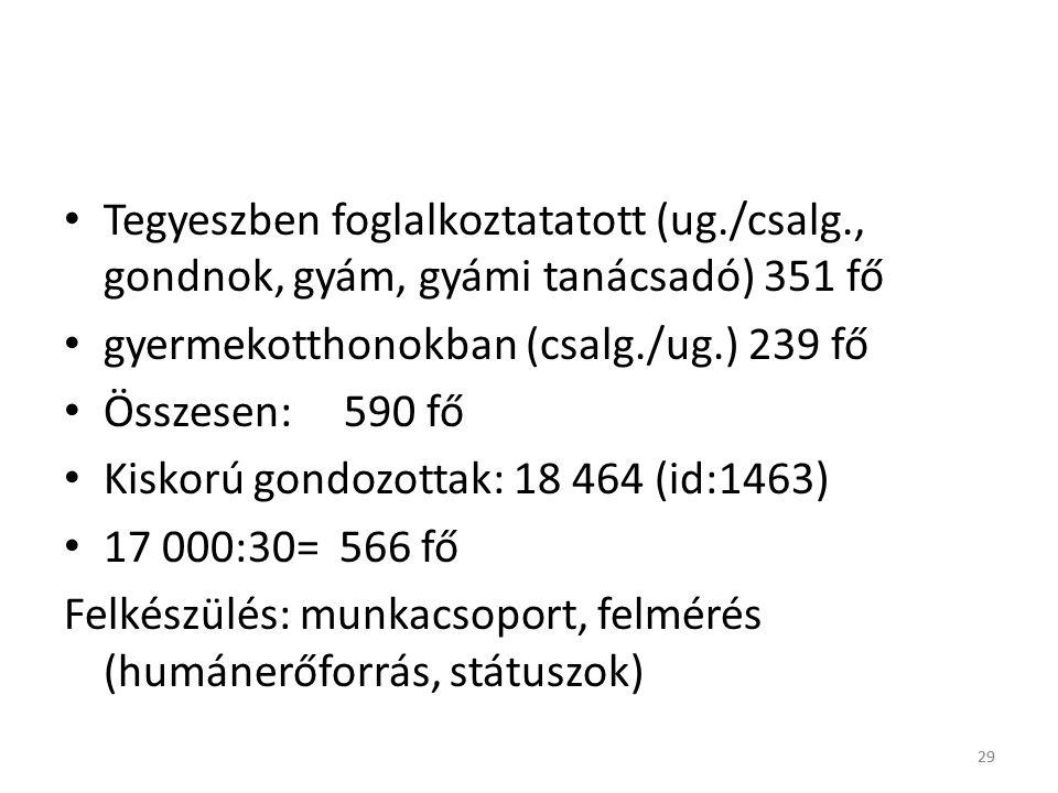 29 • Tegyeszben foglalkoztatatott (ug./csalg., gondnok, gyám, gyámi tanácsadó) 351 fő • gyermekotthonokban (csalg./ug.) 239 fő • Összesen: 590 fő • Kiskorú gondozottak: 18 464 (id:1463) • 17 000:30= 566 fő Felkészülés: munkacsoport, felmérés (humánerőforrás, státuszok) 29