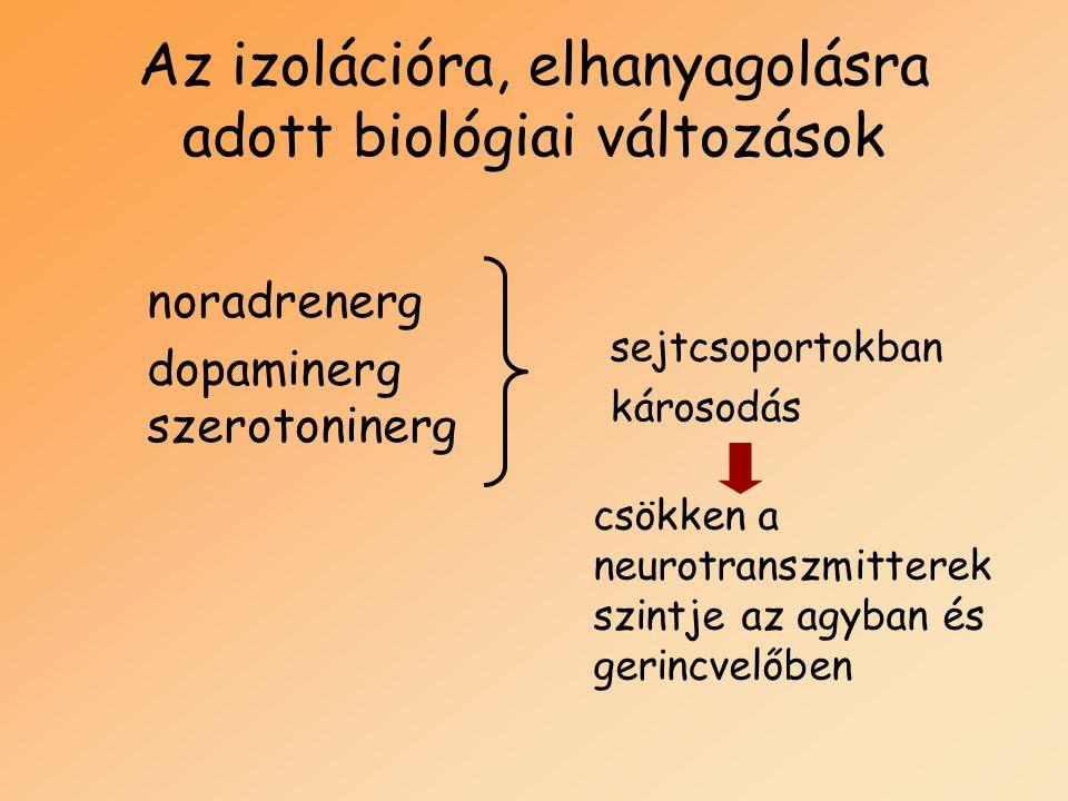 Az izolációra, elhanyagolásra adott biológiai változások sejtcsoportokban károsodás csökken a neurotranszmitterek szintje az agyban és gerincvelőben n