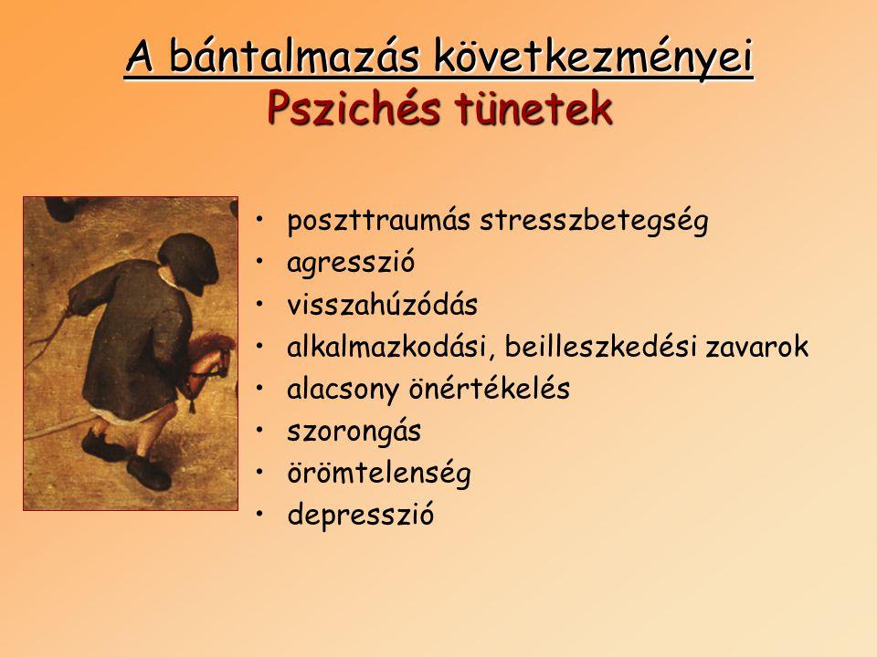 A bántalmazás következményei Pszichés tünetek •poszttraumás stresszbetegség •agresszió •visszahúzódás •alkalmazkodási, beilleszkedési zavarok •alacson